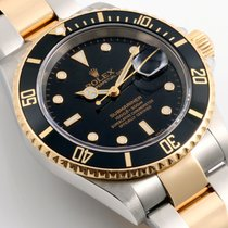 Rolex 18K/SS Submariner Black Dial 16613 Model - No Holes Case