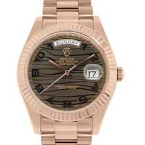Rolex 218235 Day Date II 18k Rose Gold Bronze Wave Dial Watch