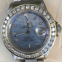 Rolex Submariner Mens Stainless Blue Mother Of Pearl Diamond...