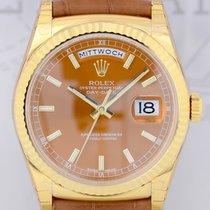 Rolex DayDate 18K Gelbgold Dresswatch Cognac LC100 ungetragen...