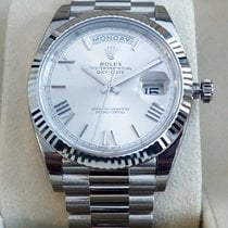 Rolex Day-Date 40 White Gold Silver Roman