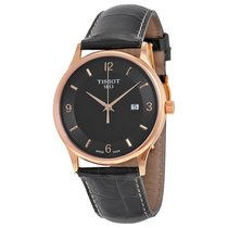 天梭 (Tissot) Rose Dream Quartz Black Dial Black Leather...