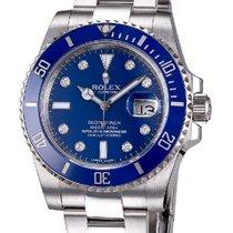Rolex Submariner White Gold Blue Diamond Dial