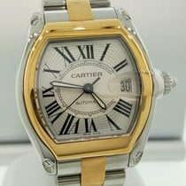 Cartier Roadster 2-tone Mens LARGE Automatic Watch 18k &...