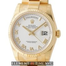 Rolex Day-Date President 18k Yellow Gold 36mm White Roman Dial