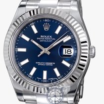 Rolex Datejust II Blue Index Dial White Gold Bezel