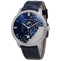 Harry Winston Midnight Diamond Drops Blue Dial 18K White Gold...