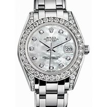Rolex Pearlmaster 34 81159 White Mother of Pearl Diamond Set...