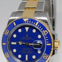Rolex Submariner Date 18k Gold/Steel Blue Ceramic Bezel Watch...
