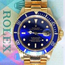 Rolex Submariner 18k Yellow Gold Blue Mens Dive Watch &...