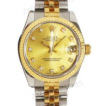 Rolex Ladies Datejust Steel and Gold Champagne Diamond Dial 68273