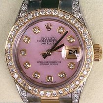 Rolex Ladies Datejust Two Tone Mother Of Pearl Pink Diamonds...