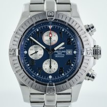 Breitling Super Avenger, Mens, Stainless Steel, Blue Dial, A13370