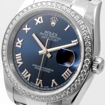 Rolex 36mm SS Datejust Navy Blue Roman Factory Diamond Bezel