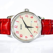 Mido Baroncelli Lady Red Strap Silver Dial M76004397