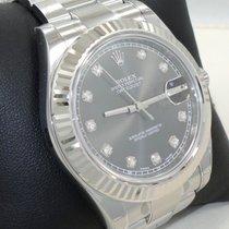 Rolex Datejust II 116334 41mm Rhodium Diamond Dial 18k White...