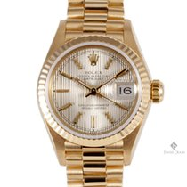 Rolex Datejust Yellow Gold Champagne Tapestry Stick Dial...