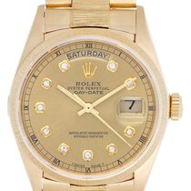 Rolex President Day-Date 18k Yellow Gold Champagne Dial Bark...