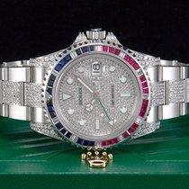 Rolex GMT-Master II Stahl  Full Diamonds Baguette Saphir Aus 2014