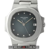 Patek Philippe Nautilus 18k White Gold 37mm Black-Blue Diamond...
