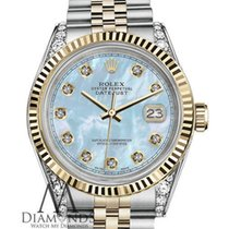 Rolex Ladies Rolex 31mm Datejust 2tone Baby Blue Mop Mother Of...