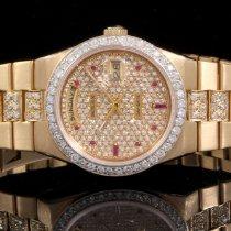 Rolex 19018 18K YG Day-Date Super Oyster Quartz with Diamonds