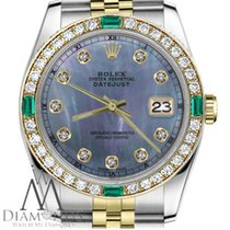 Rolex Ladies Rolex 36mm Datejust 2 Tone Tahitian Mother Of...