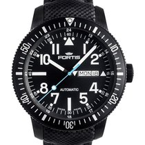 Fortis Aquatis Diver Black 42mm Swiss Automatic Watch Pvd Case...