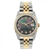 Rolex Date Unisex 34mm Black Mother Of Pearl Dial Stainless...