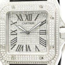 カルティエ (Cartier) Polished Cartier Santos 100 Lm Custom Diamond...