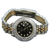 Rolex Datejust Ladies 26mm Black Dial Yellow Gold And Stainles...