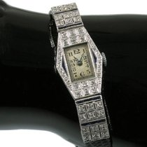 Art Deco platinum ladies wrist watch diamonds and sapphires...