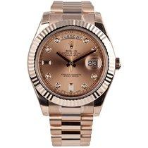 Rolex Day-Date II 41mm Rose Gold Diamond Dial