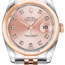 Rolex Datejust 36mm Stainless Steel and Rose Gold 116201 Pink...