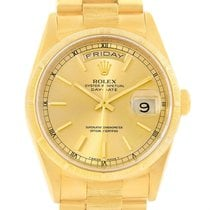Rolex Day-date President 18k Yellow Gold Bark Finish Mens...