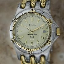 Bulova Marine Star 100m Swiss Made 36MM Mens Gold Plated...