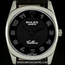 ロレックス (Rolex) 18k White Gold Black Arabic Dial Cellini Danaos...
