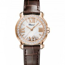 Chopard 274189-5005 Happy Sport30mm Diamonds Gold Pearl Lady
