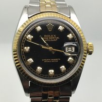 Rolex DATEJUST 36MM AUTO STEEL GOLD BLACK DIAMONDS DIAL