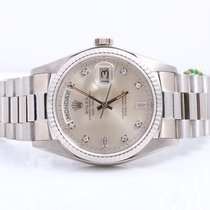 Rolex Mens 18K White Gold Day-Date President - Factory Silver...