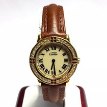 Cartier Vermeil Gp 925 Argent Ladies Watch W/ Diamonds &...