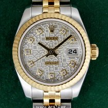 Rolex DateJust 179173 Lady 18k Gold Steel Diamonds Box&Papers