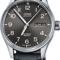 Oris Big Corwn Pro Pilot Grey Leather Strap Mens Watch...