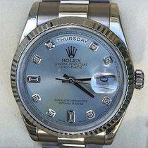 Rolex Mens President 18k White Gold Light Blue Diamond Dial...