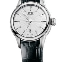 Oris Artelier Date Diamonds White Leather