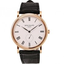 Patek Philippe Calatrava 36mm Rose Gold Watch Black Leather Strap