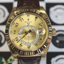 Rolex 326138 Sky-Dweller Champagne Dial Leather Strap Yellow Gold