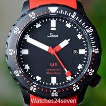 Sinn U1 1000 Meters Black PVD Diver on Red Dive Strap