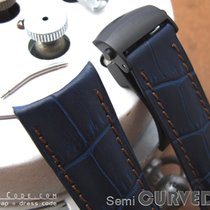 Strapcode Navy CrocoCalf Semi-Curved Lug Watch Strap, PVD...