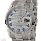 Rolex Day-Date Ref-118206 950 Platinum Ice Blue Waves Dial Box...